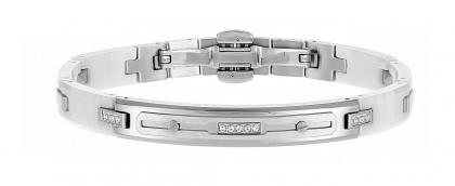 Zancan Stainless Steel White Ceramic Bracelet With White Spphire