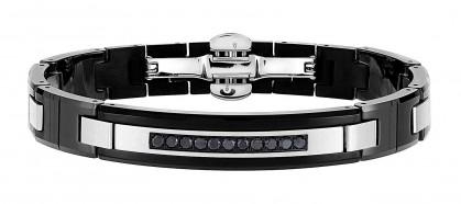 Zancan Stainless Steel Black Ceramic Bracelet With Black Spinel