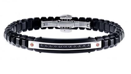 Zancan Black PVD Stainless Steel Black Spinel Men's Bracelet