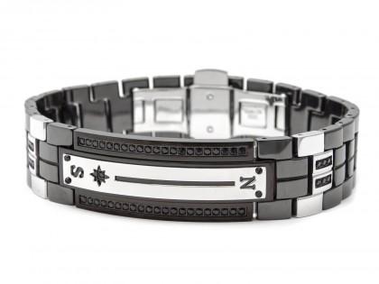 Zancan Black Ceramic Black Spinel Stainless Steel Men's Bracelet