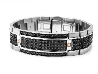 Zancan Stainless Steel Black Spinel Men's Bracelet