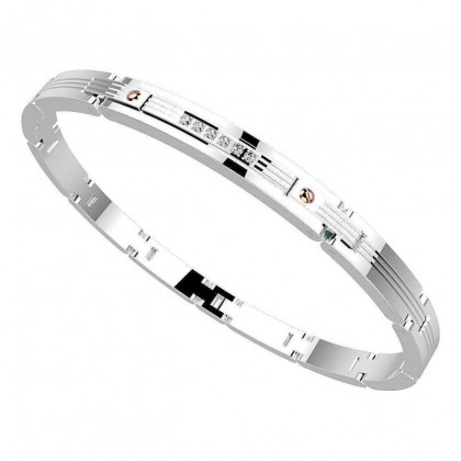 Zancan Stainless Steel White Sapphires Bracelet