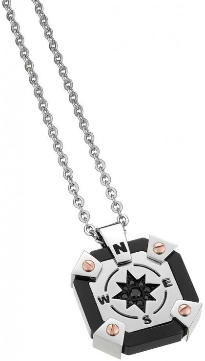 Zancan Stainless Steel Black Spinel Ceramic Necklace