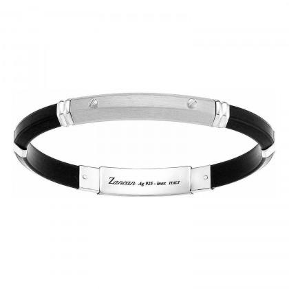Zancan Silver & Silicone Bracelet