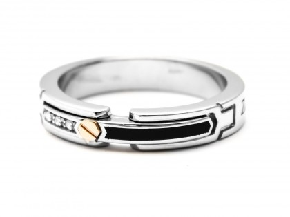 Zancan Sterling Silver And Rose Gold Men's Ring