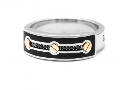Zancan Sterling Silver And Rose Gold Men's Ring With Black Spinel