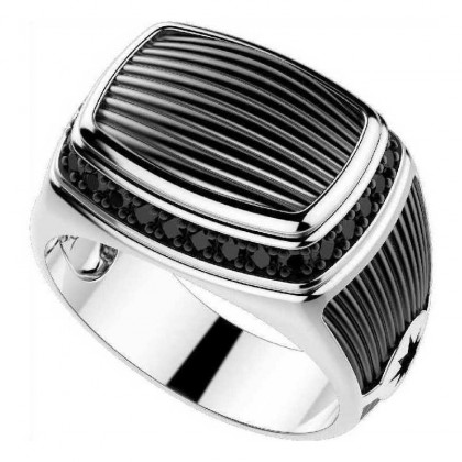 Zancan Silver Ring with Black Spinels EXA088L