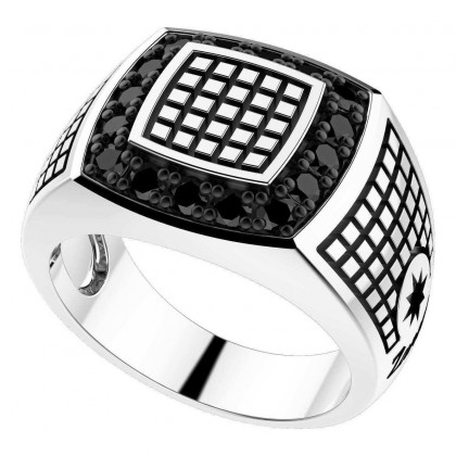 Zancan Silver Ring with Black Spinels EXA096S