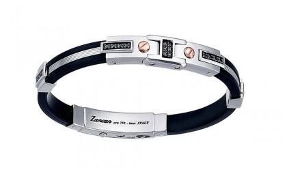 Zancan Rose Gold Silver Silicone Black Spinel Bracelet