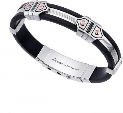 Zancan Rose Gold Silver Silicone Bracelet With Black Spinel