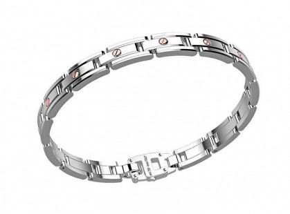 Zancan Rose Gold Silver & Stainless Steel Bracelet