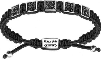 Zancan Silver Nylon Cable Bracelet