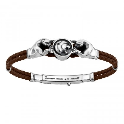Zancan Bracelet Silver Leather