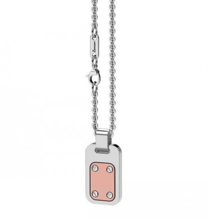 Zancan Rose Gold Silver & Stainless Steel Necklace