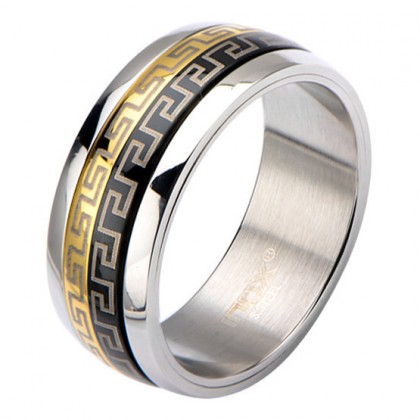 Inox Greek Key IP Gold & IP Black Spinner Ring