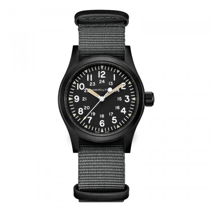Hamilton Khaki Field Mechanical 38mm Black Nato Watch