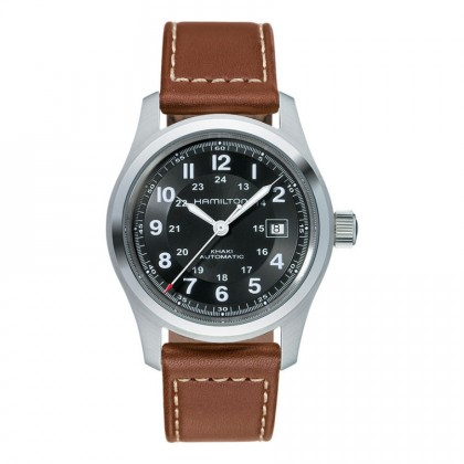 Hamilton Khaki Field Automatic 42mm Blk/Brn Calf Leather Watch