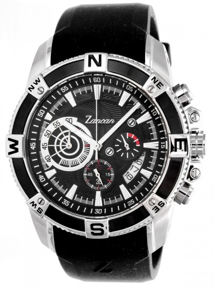 Zancan Chronograph All Black Stainless Steel Rubber Strap Men's Watch