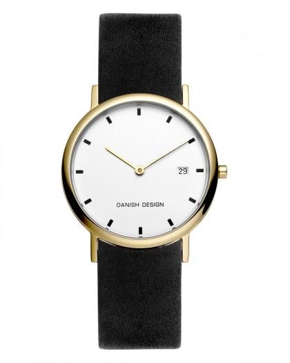 Danish Design Black Leather Band Titanium Men's Watch