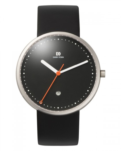 Danish Design Black Leather Band Stainless Steel Men's Watch