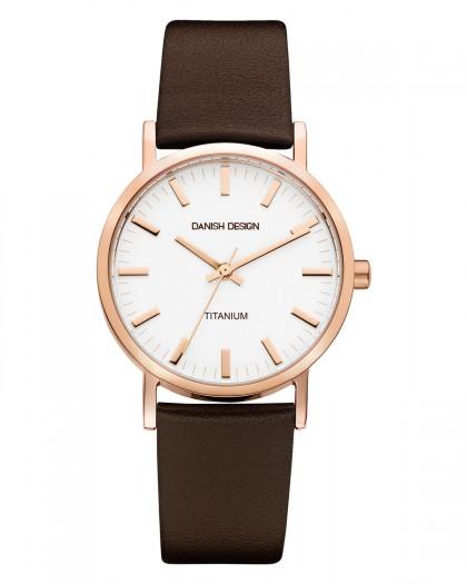 Danish Design Brown Leather Band Titanium Men's Watch