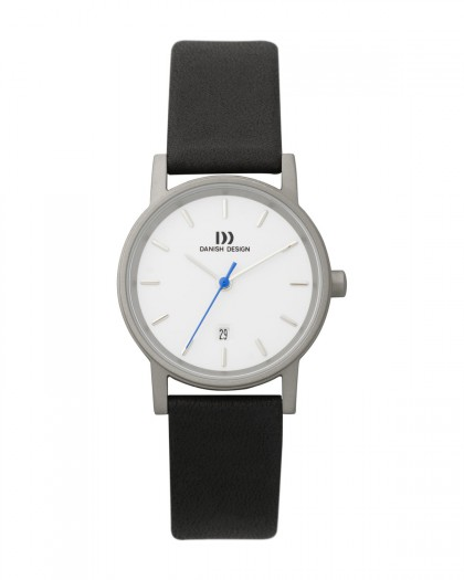 Danish Design Black Leather Band Titanium Women's Watch