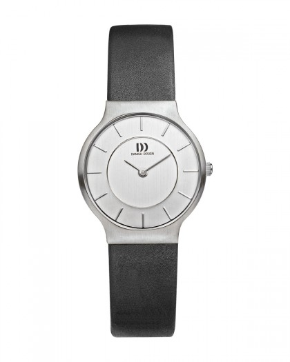 Danish Design Black Leather Band Stainless Steel Women's Watch