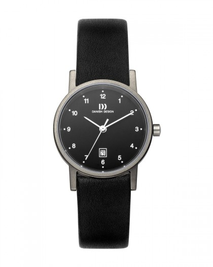Danish Design Black Leather Band Titanium Women's Watch