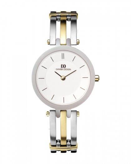 Danish Design Two Tone Silver & Gold Color Titanium Women's Watch