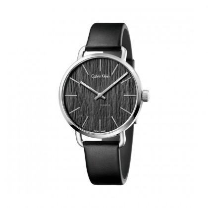 Calvin Klein Even Black Leather Strap Women's Watch
