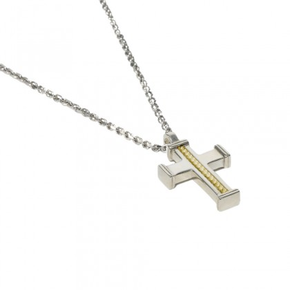 Borsari necklace w/pendant cross 18k yellow gold ornament