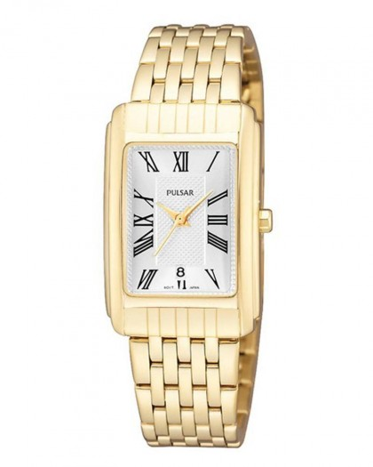 Pulsar Quartz Silver Dial Gold Tone Women's Watch