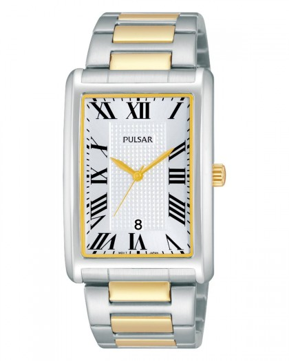 Pulsar Quartz Silver Dial Two-Tone Men's Watch