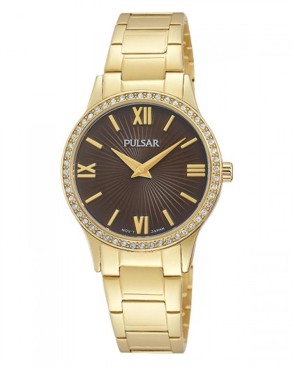 Pulsar Quartz Brown Dial Crystals Gold Tone Women's Watch