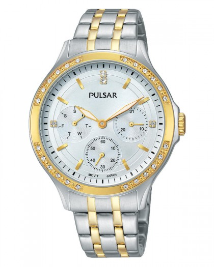 Pulsar Quartz Silver Dial Crystals Two-Tone Women's Watch