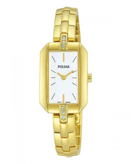 Pulsar Quartz White Dial Crystals Gold Tone Women's Watch