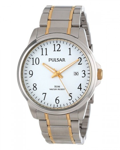 Pulsar Quartz White Dial Two-Tone Men's Watch