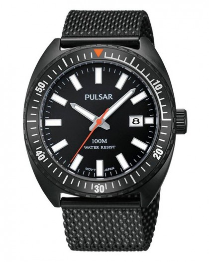 Pulsar Quartz Black Dial Men's Watch
