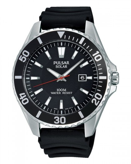 Pulsar Solar Black Dial Men's Watch