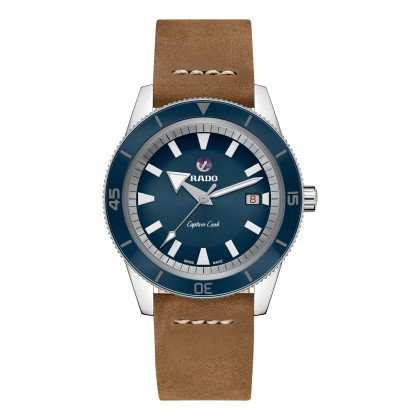 Rado Captain Cook Blue Dial Leather Strap Men's Watch