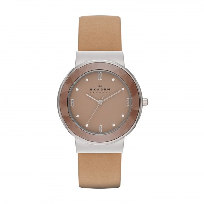 Skagen Leonora Ceramic Leather Women's Watch