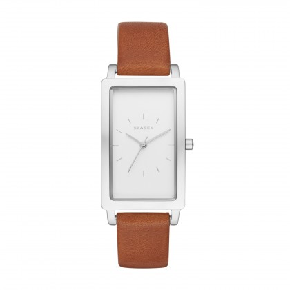 Skagen Hagen Leather Band Stainless Steel Women's Watch