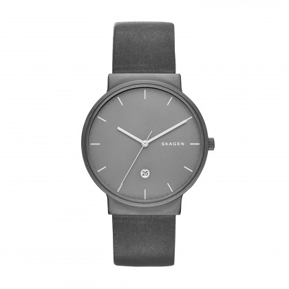 Skagen Ancher Leather Band Titanium Men's Watch