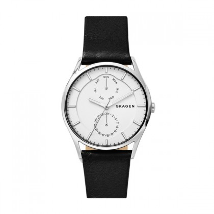Skagen Holst Titanium Watch w/ Black Leather Strap