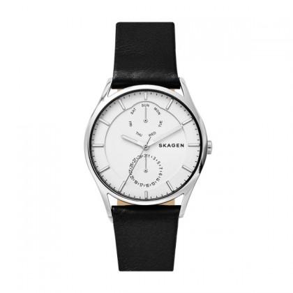 Skagen Holst Titanium Watch w/ Black Leather Strap