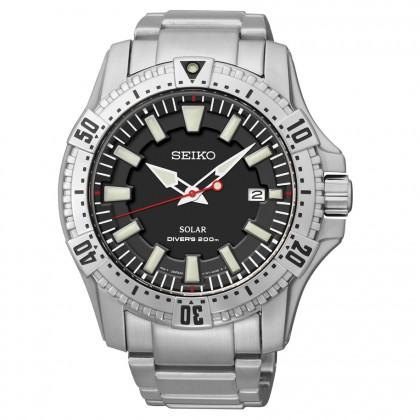 Seiko Men's Solar Analog Display Silver Watch