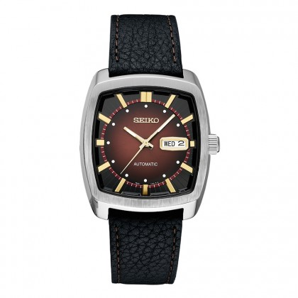 Seiko Recraft Leather Band Automatic Stainless Steel Watch