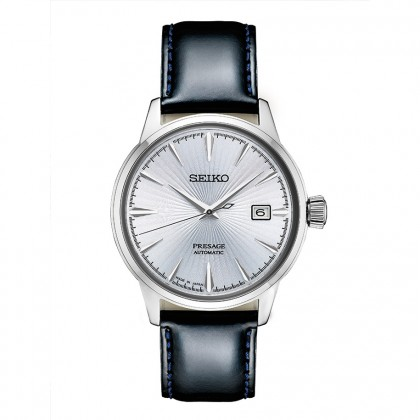 Seiko Presage Leather Band Automatic Stainless Steel Watch SRPB43