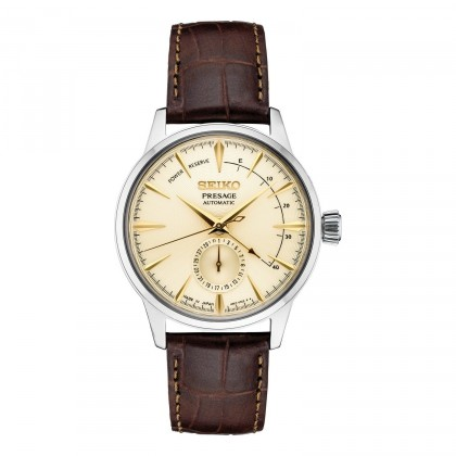Seiko Presage Leather Band Automatic Stainless Steel Watch