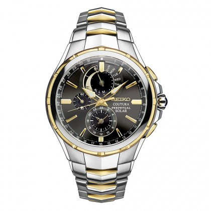 Seiko Coutura Solar Perpetual Two Tone Chronograph Men's Watch SSC376